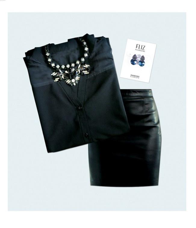 Black Sheer Panelled Blouse - WT13006