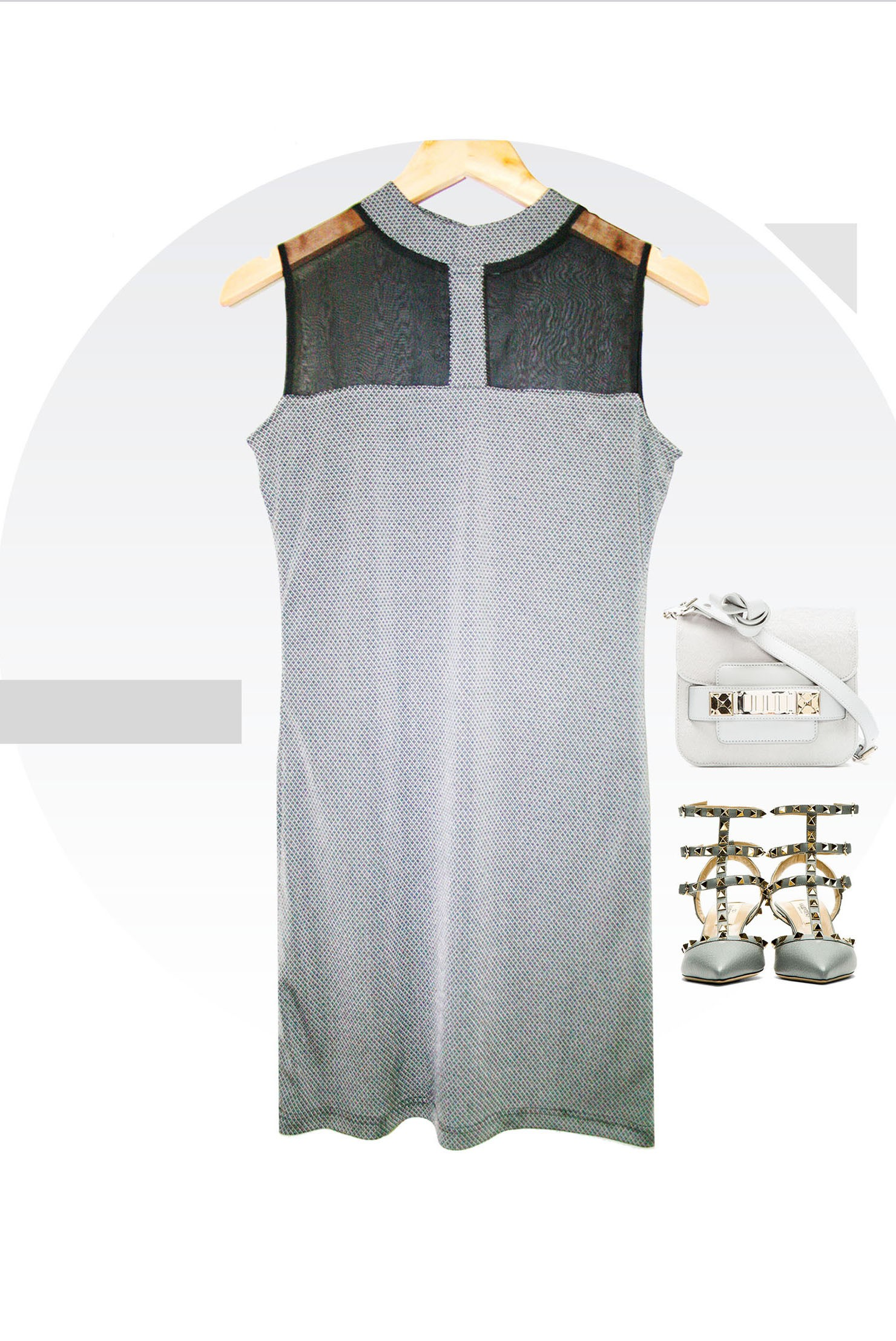 Sheer Panel Shift Dress - WD13002