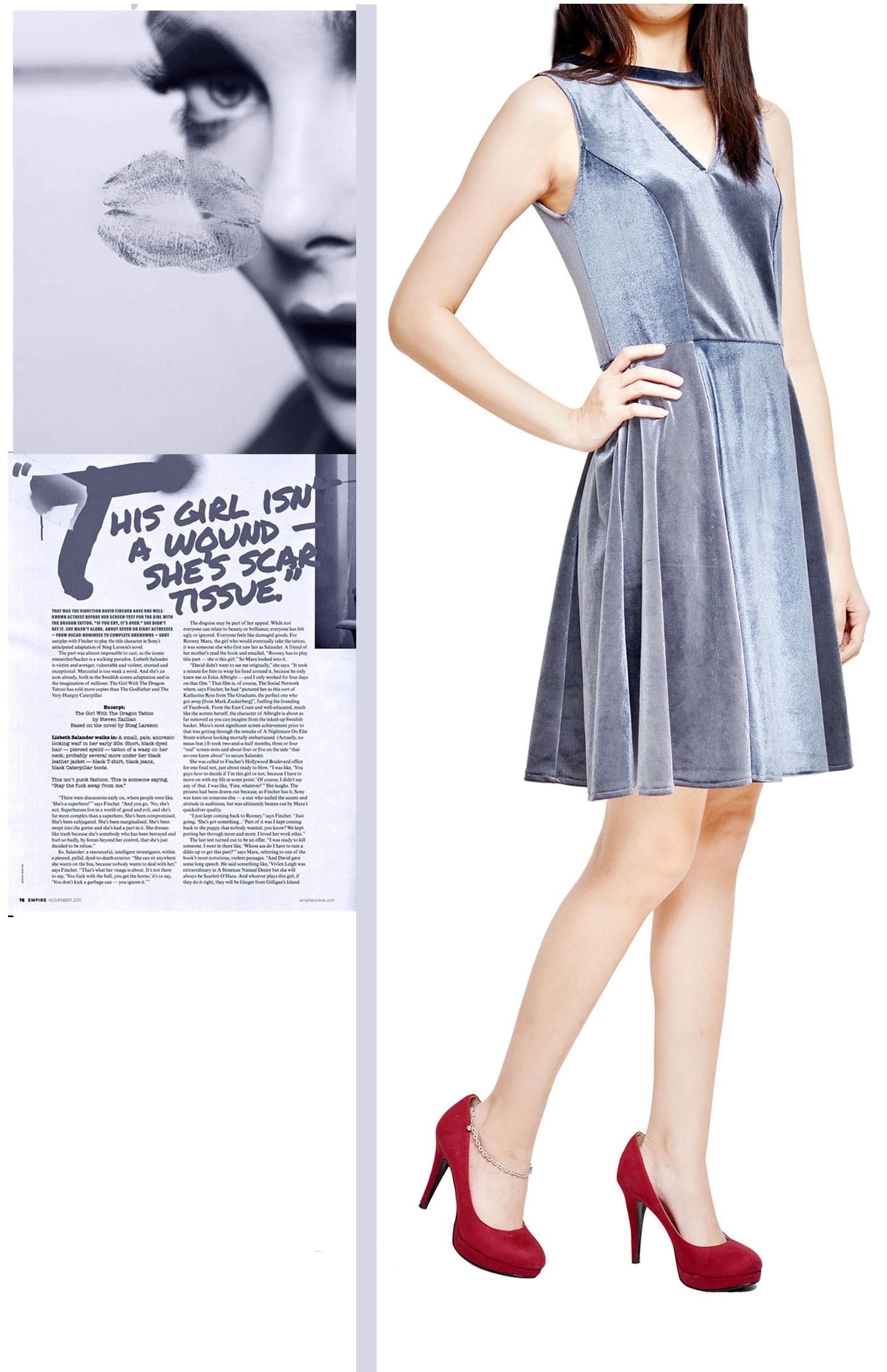 Cut Out Neckline Velvet Dress - WD13008