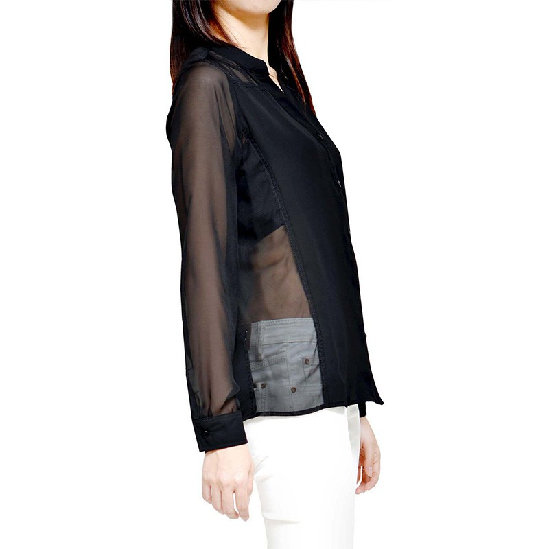 Black Sheer Panelled Blouse - WT13006