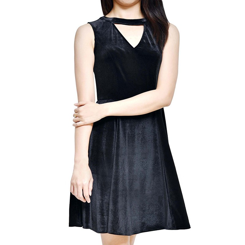 Cut Out Neckline Velvet Dress - WD13008